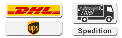 Thiel Grosskuechenbedarf Online-Shop, unsere Logistikpartner: Deutsche Post DHL, UPS, Speditionsversand